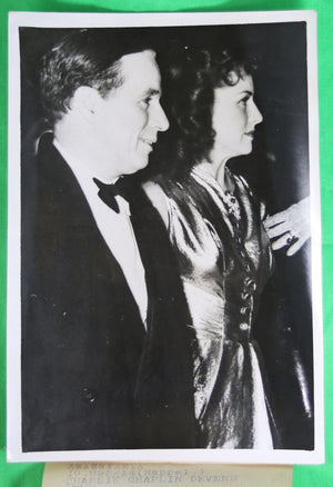 1939 Press Photo Charlie Chaplin and Paulette Goddard at Premiere