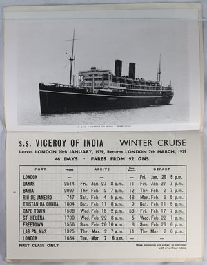 1939 brochure for P & O winter cruises (UK)