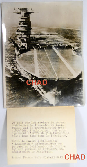 1939 pre-WW2 photo USA aircraft-carrier Lexington