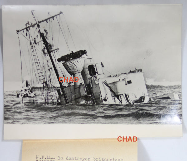 1939 Set Of Two Ww2 Photos Of British Destroyer Hms Gipsy Sinking Chadbourne Antiques