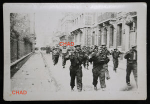 1942 WW2 photo of Canadian POWs marching though Dieppe
