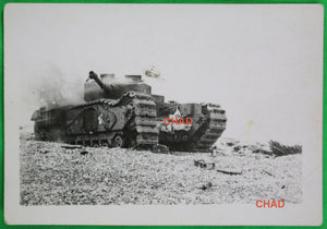 1942 WW2 photo of abandoned Canadian Churchill tank on beach at Dieppe