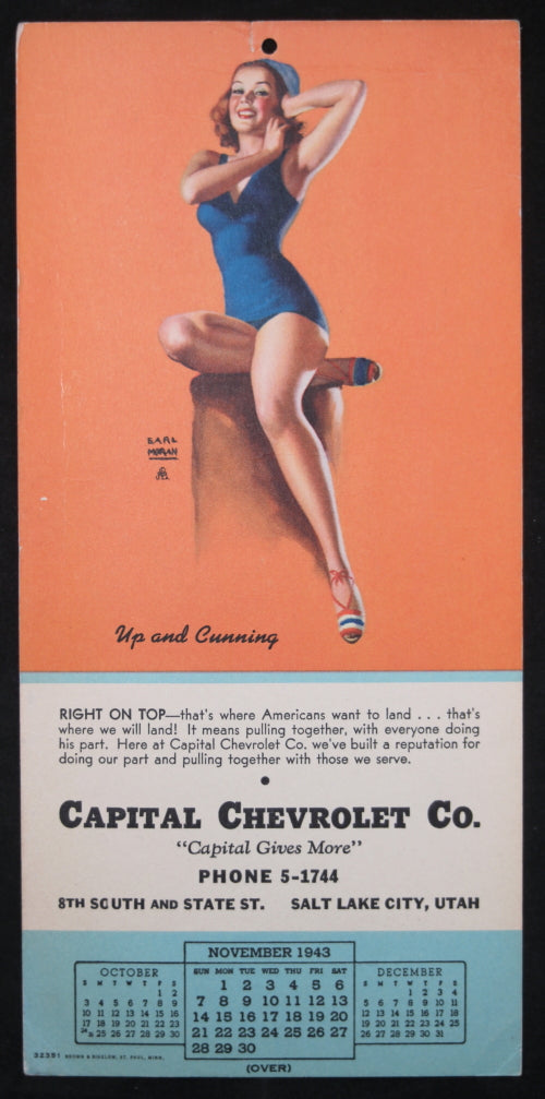 1943 Earl Moran pin-up calendar page for Chevrolet dealer in Utah