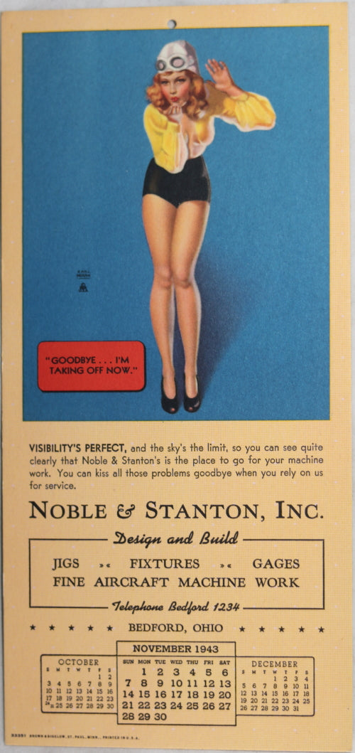 1943 Earl Moran pin-up calendar page for machining company Ohio