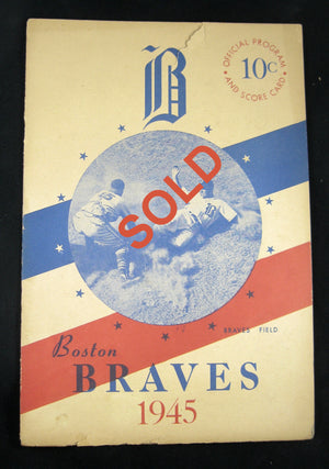 1945 Boston Braves official baseball program