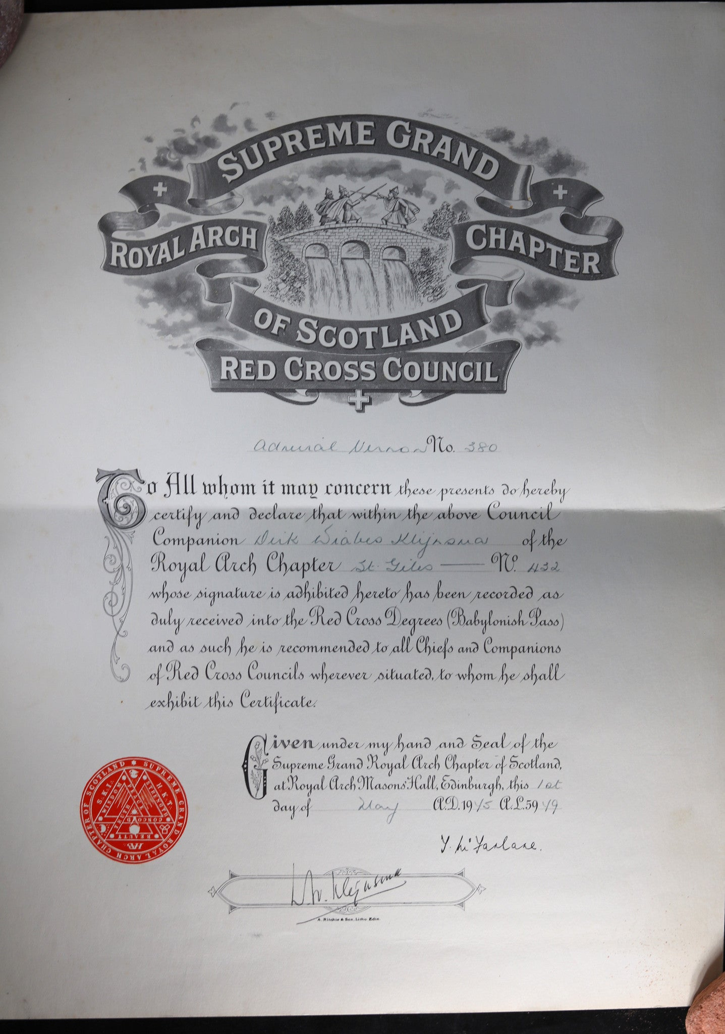 1945 Freemason Supreme Grand Royal Arch Chapter of Scotland