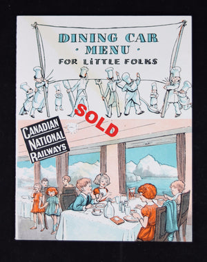 1946 Canadian National Railway (CNR) 'Dining Car Menu for Little Folks' + envelope
