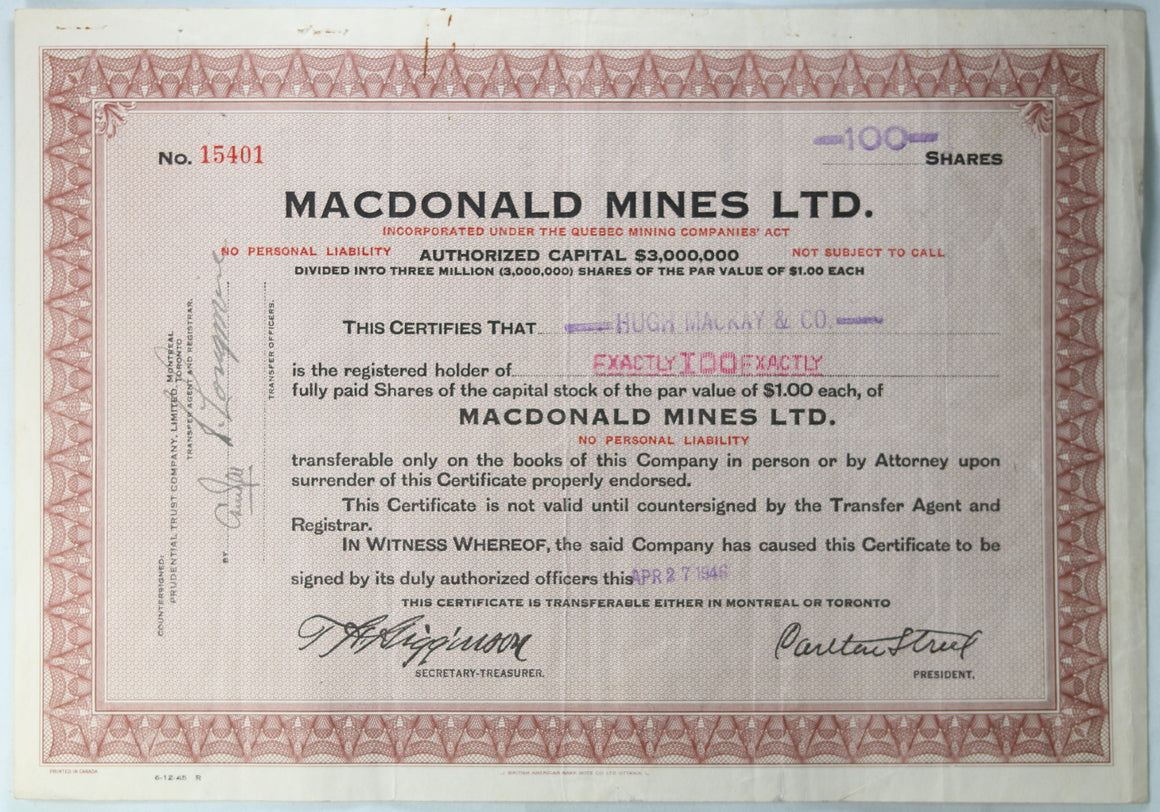 1946 stock certificate MacDonald Mines Ltd. QC Canada