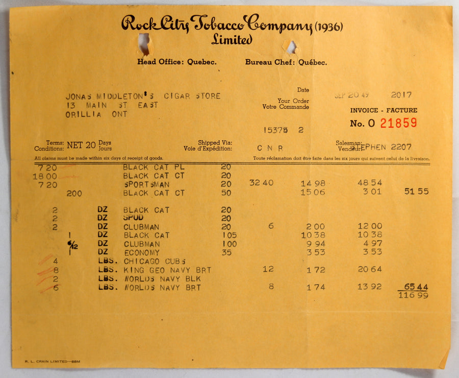 1949 invoice Rock City Tobacco Co, to cigar store Orillia ON