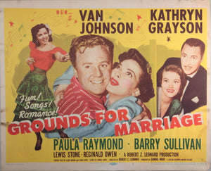 1950 movie title lobby card 'Grounds for Marriage'
