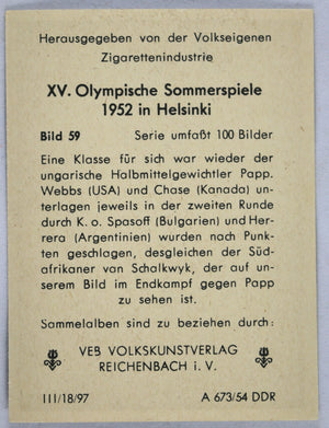 1952 Finland Summer Olympics, photo of boxing match Hungary  S.A.