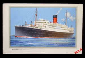 "1955 Postcard of Cunard R.M.S. ""Franconia"" with log abstracts"