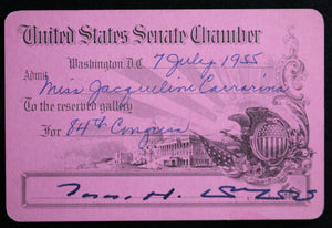 1955 pass for United States Senate Chamber