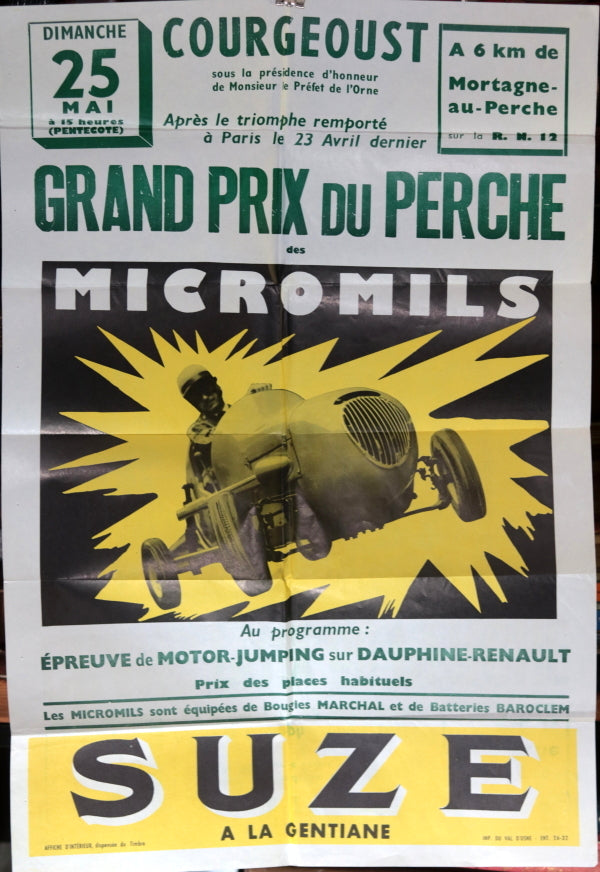 1958 France affiche course d'autos Micromil 'Grand Prix du Perche'