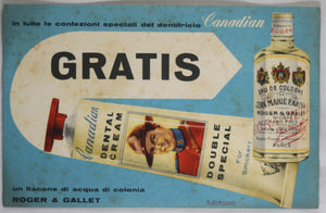 1958 Italian coupon for 'Canadian Dental Cream' with Mountie
