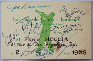 1958 french card with autographs of Jazz greats from Count Basie orchestra