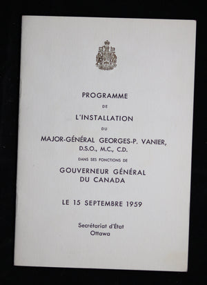 1959 Programme + ticket for the Installation of Georges Vanier as Governor General of Canada