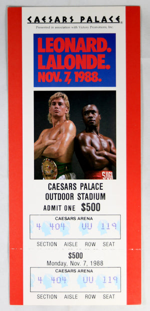 1988 boxing match ticket Sugar Ray Leonard VS Lalonde