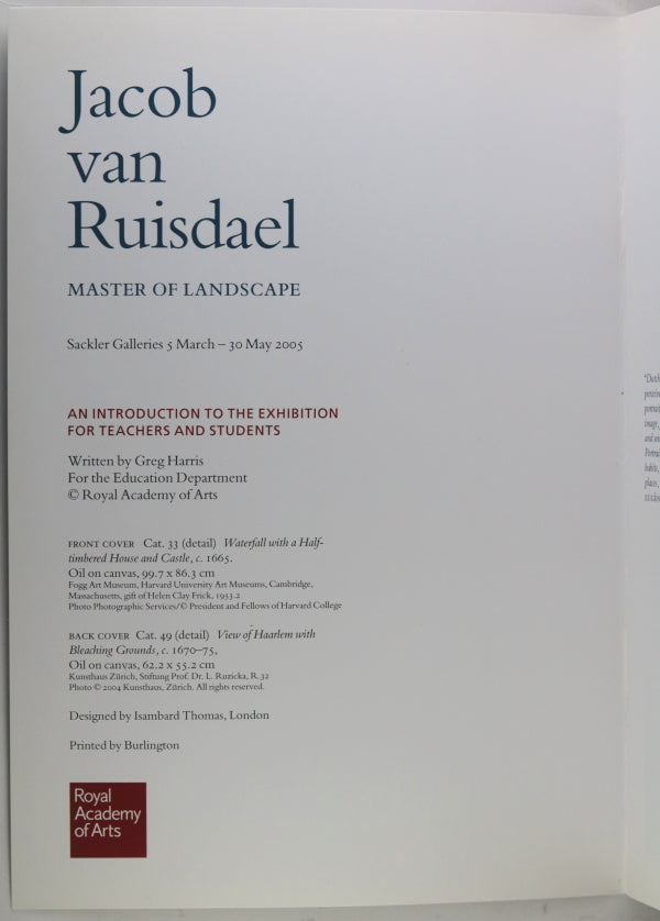 2005 guide 'Jacob van Ruisdael Master of Landscape' at RAA London UK