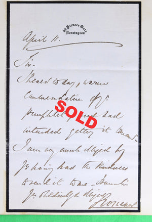 ALS 1866 letter and photo - Hugh Lupus Grosvenor, 1st Duke of Westminster