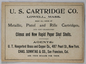 Advertising card for US Cartridge Co. Lowell Mass. early 1900s