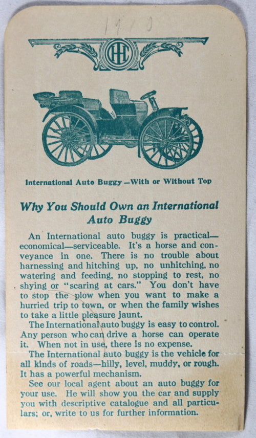 Advertising for International Harvester Auto-Buggy, 1910s