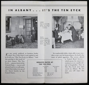 Advertising pamphlet for Ten Eyck Hotel Albany NY @1930s