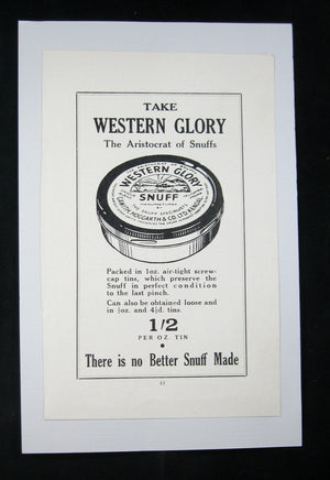 Western Glory Snuff UK advertising 1930s