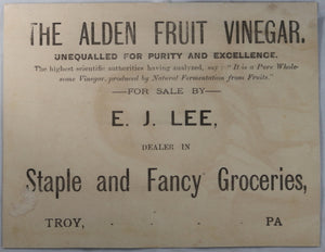 Alden Fruit Vinegar - Advertising trade Card late 1800's