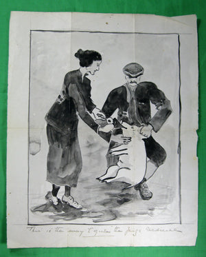 Amateur ink on paper, humorous farm drawing (late 1800s - early 1900s)