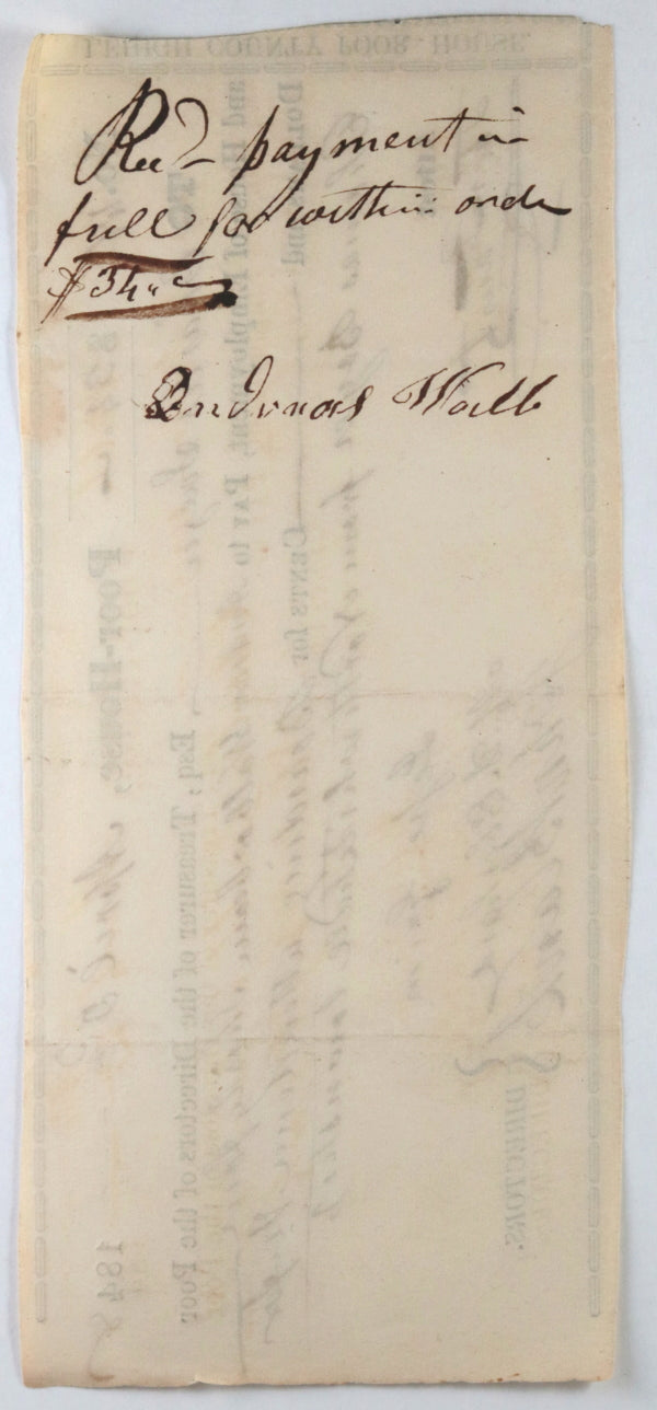 Apr. 3rd 1848 Allentown PA Lehigh County Poor-House: boarding