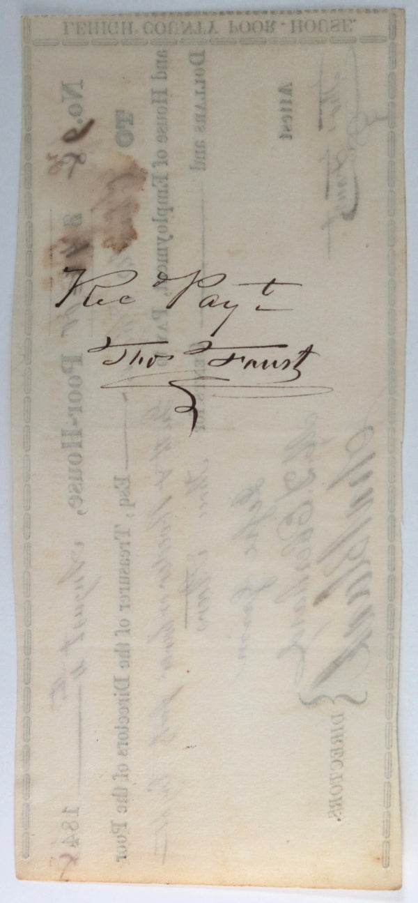 Aug. 4th 1848 Allentown PA Lehigh County Poor-House cheque: 3 steers