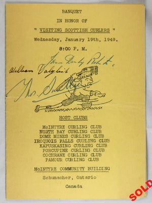 Autographs of visiting Scottish Curling teams - Canada 1949