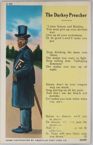 Black Americana postcard 'The Darkey Preacher' @1950s
