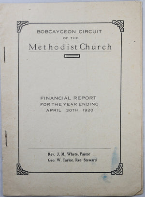 Bobcaygeon Circuit of the Methodist Church - Financial reports 1920 & 1921