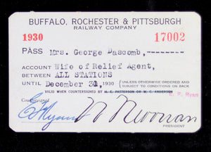 Buffalo, Rochester & Pittsburgh Railway Company system pass 1930