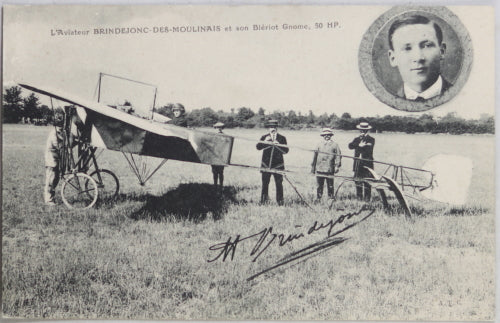 CPA photo aviateur Brindejonc avec son avion Blériot-Gnôme