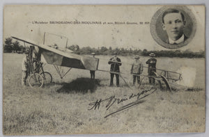 CPA photo l'aviateur Brindejonc sur son Bleriot Gnome 50 HP @1910