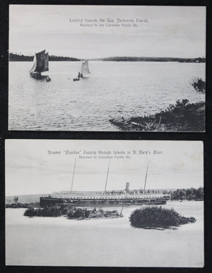 Canada CPR set of two photo postcards ships, Ontario @1910