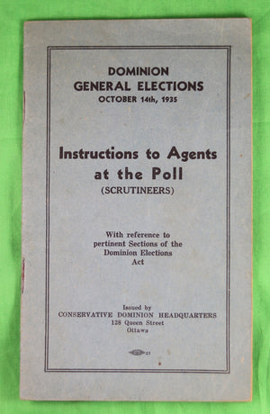 Canada Election October 14th, 1935 – Poll Instructions