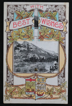 Canadian Rockies tourism 'fan' postcard with multiple photos c. 1910