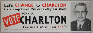 Canadian political card 1945 federal election Brant Ontario