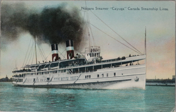 "Canadian postcard of CSL Niagara steamer ""Cayuga"" on Lake Ontario"