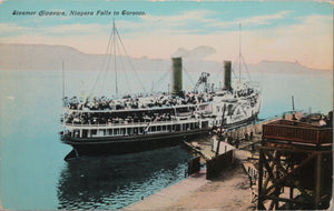 "Canadian postcard of steamer ""Chippewa"" docked on Lake Ontario c.1910"