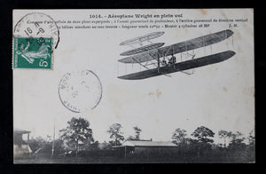 Carte postale photo aeroplane Wright en plein vol (France 1908)