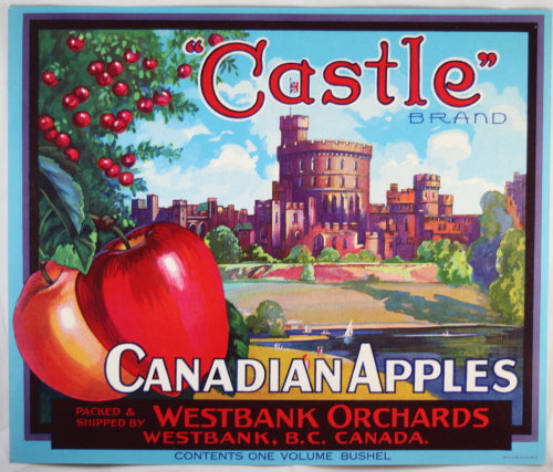 'Castle' Canadian apple crate label Westbank Orchards (B.C.)