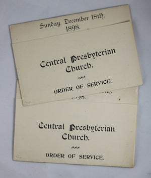 Central Presbyterian Church (Hamilton Ontario) - 1898 Order of Service (X2)