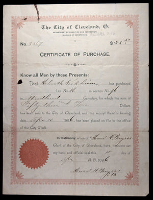 Certificate of Purchase - Cemetery Plot Cleveland 1896 & 1885 receipt