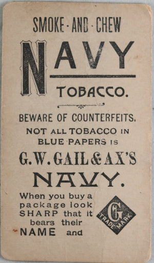 Cigarette card Navy Tobacco with Actress photo, Gail & Ax c. 1890