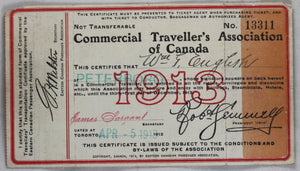 Commercial Traveller's Assn. of Canada member card 1913